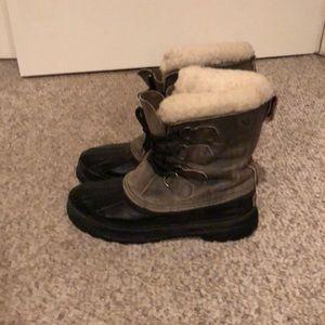 Sorel tan khaki leather short lace up winter boots